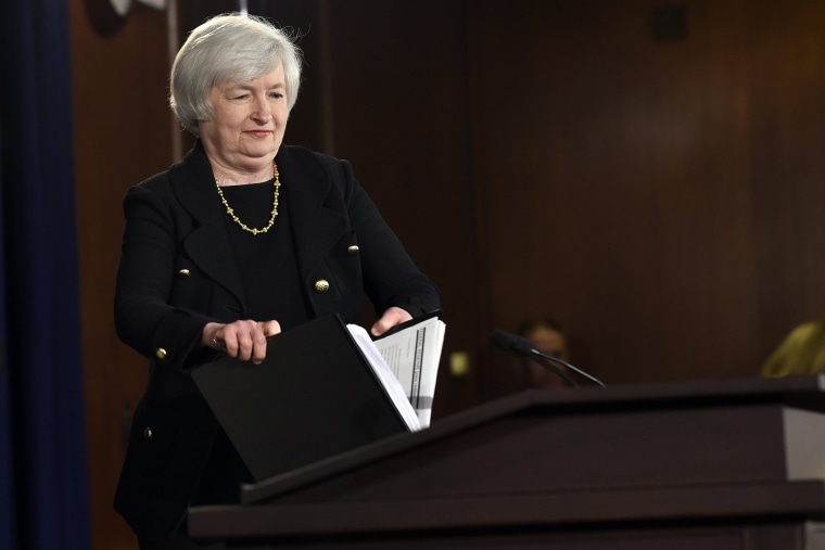 Federal Reserve Chairman Janet Yellen arrives for a news conference at the Federal Reserve in Washington, on Sept. 17, 2014. (Photo by Susan Walsh/AP)