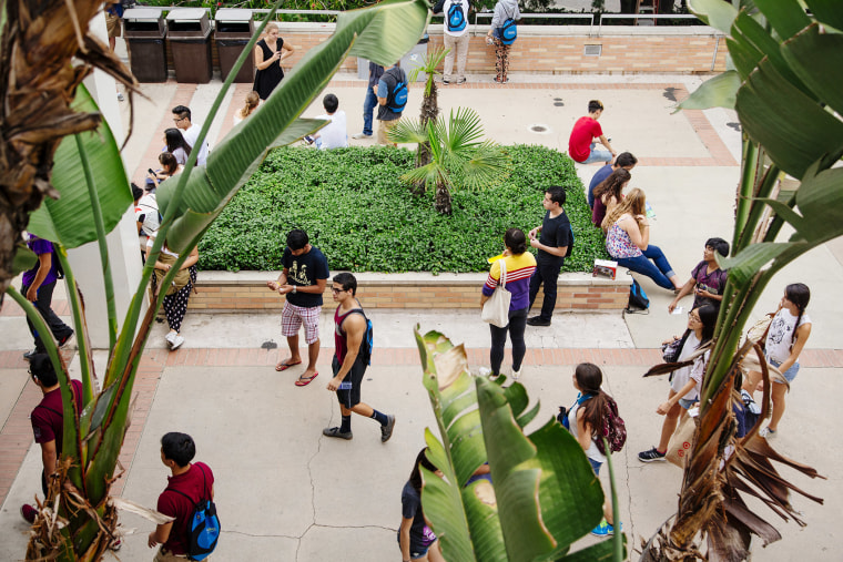 Students walk across UCLA?s campus in Los Angeles.