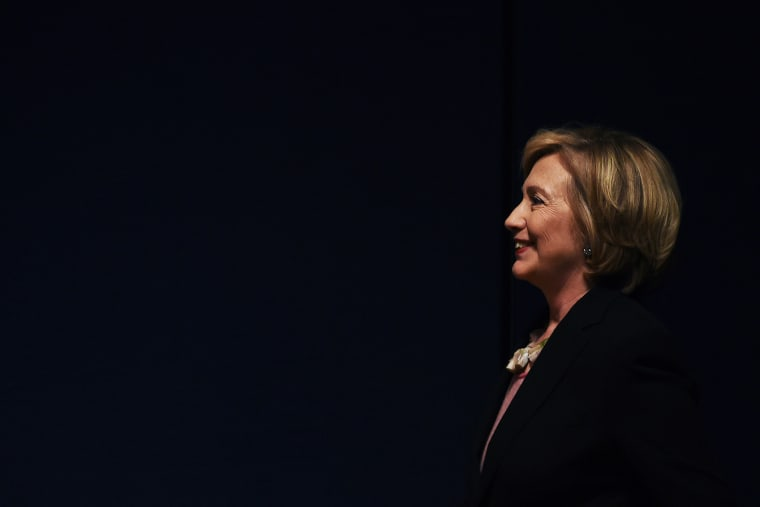 Former US Secretary of State Hillary Clinton arrives at a fundraiser event in New York, Sept. 16, 2014.