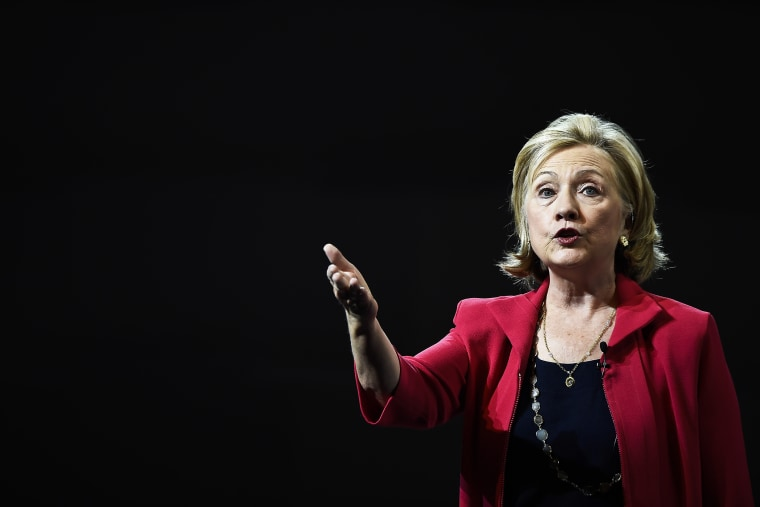Former US Secretary of State Hillary Clinton delivers a speech during a conference on Sept. 5, 2014 in Mexico City, Mexico.