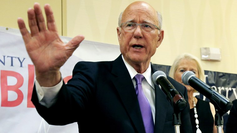 U.S. Sen. Pat Roberts makes his victory speech at a Johnson County Republican's election watch party Tuesday, Aug. 5, 2014, in Overland Park, Kan. (Photo by Charlie Riedel/AP)