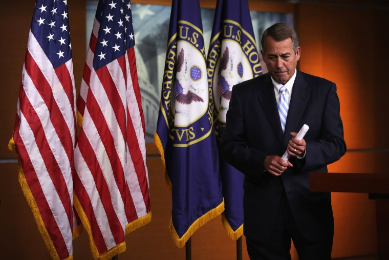 Speaker of the House Rep. John Boehner (R-Ohio) leaves after a press briefing July 31, 2014 on Capitol Hill in Washington, D.C.
