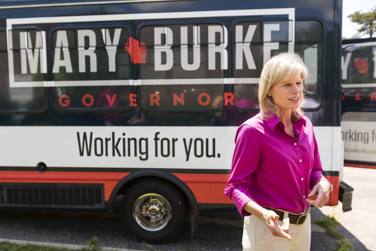 Wisconsin democratic gubernatorial candidate Mary Burke is interviewed by Wisconsin Public Television on July 24, 2014, in Janesville, Wis.