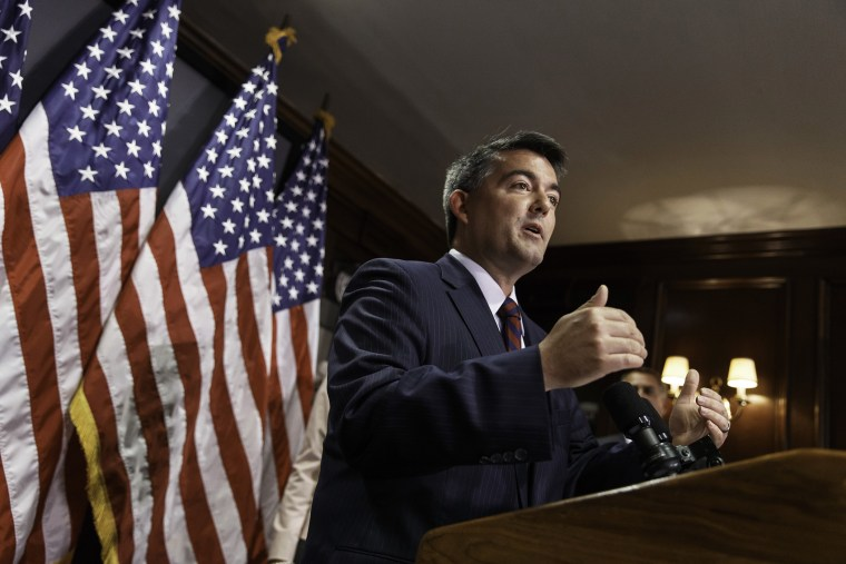 Rep. Cory Gardner, R-Colo., who is challenging Sen. Mark Udall, D-Colo., for his Senate seat, speaks to reporters after meeting with the House Republican caucus on Capitol Hill in Washington, D.C., on June 24, 2014.