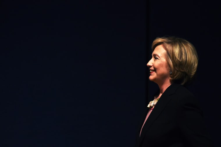 Former US Secretary of State Hillary Clinton arrives to speak during a fundraiser event in New York, N.Y. on Sept 16, 2014.
