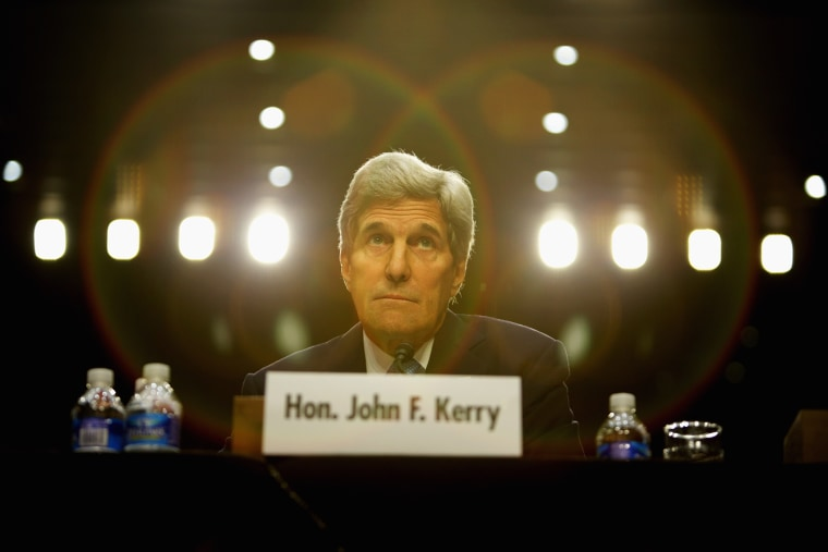 U.S. Secretary of State John Kerry testifies during a hearing on Sept. 17, 2014 on Capitol Hill in Washington, D.C.