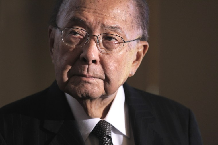 In this Sept. 19, 2011 file photo, Sen. Daniel Inouye, D-Hawaii attends a ceremony on Capitol Hill in Washington, D.C. (Photo by J. Scott Applewhite/AP)