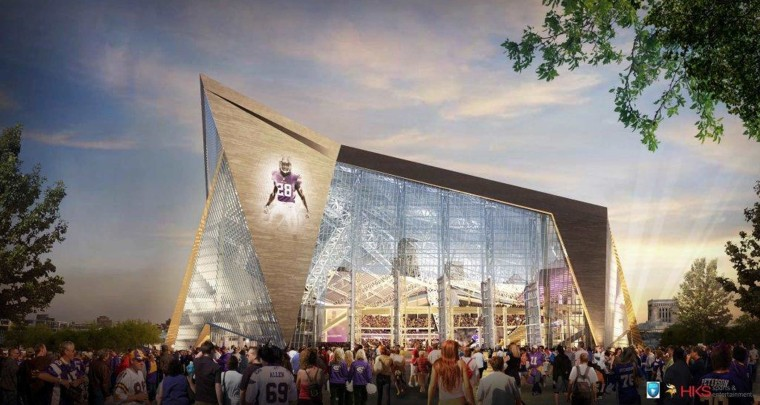 FILE - This file handout released May 13, 2013, by the Minnesota Sports Facilities Authority and the Minnesota Vikings shows a rendering of the new Vikings...