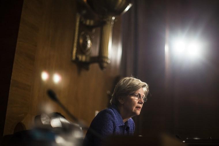 Sen. Elizabeth Warren (D-Mass.) during a hearing on Capitol Hill in Washington, Nov. 12, 2013.