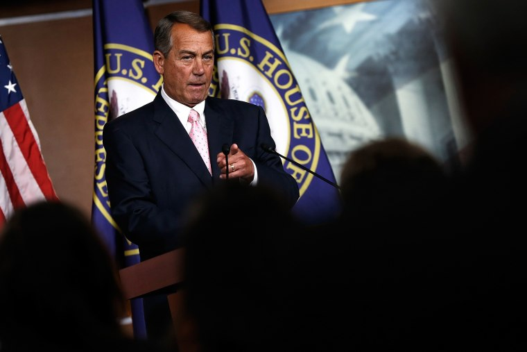 John Boehner answers questions during a press conference at the U.S. Capitol July 24, 2014 in Washington, DC.