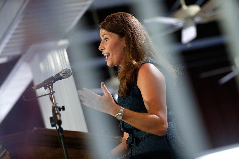 Alison Lundergan Grimes speaks at the Fancy Farm picnic, Aug. 2, 2014.