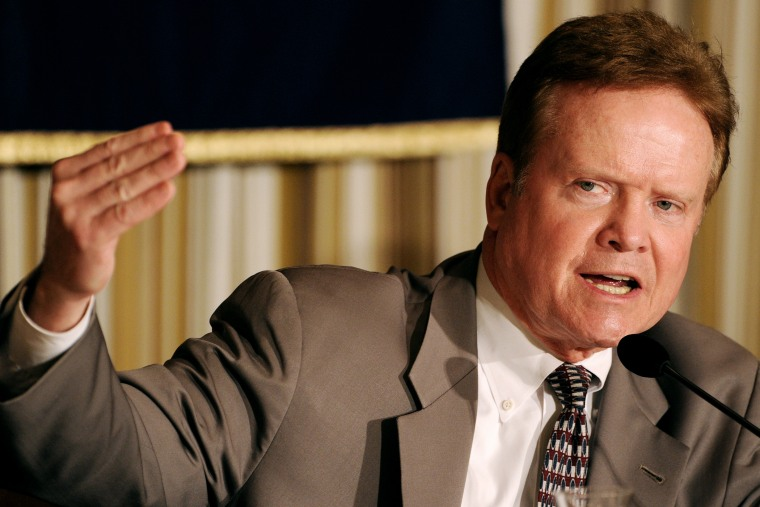 Then-U.S. Senator Jim Webb answers a question during a press conference at the Foreign Correspondents' Club in Tokyo on April 5, 2012.
