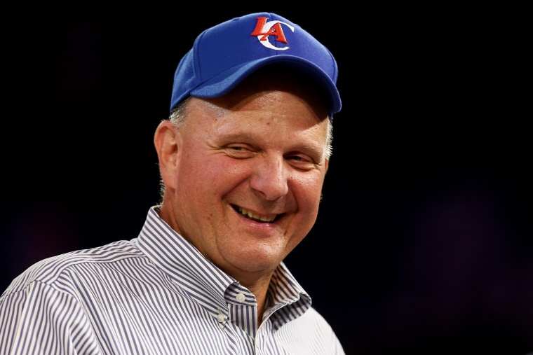 New owner of the Los Angeles Clippers Steve Ballmer looks on after being introduced for the first time during Los Angeles Clippers Fan Festival at Staples Center on Aug. 18, 2014 in Los Angeles, Calif. (Photo by Jeff Gross/Getty)