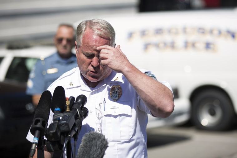 Police Chief Thomas Jackson speaks during a news conference at the police headquarters in Ferguson, Mo., Aug. 13, 2014. (Photo by Mario Anzuoni/Reuters)