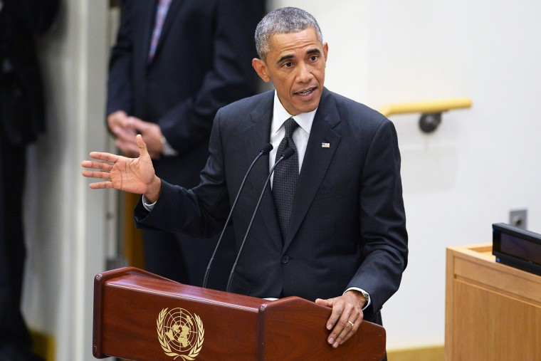 U.S. President Barack Obama gives remarks at a special high-level meeting regarding the Ebola virus outbreak in West Africa during the 69th United Nations General Assembly on September 25, 2014 in New York City.
