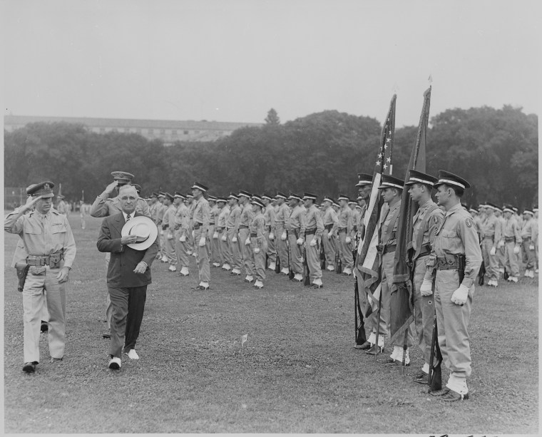 President Truman reviews the District of Columbia military police, 1946.