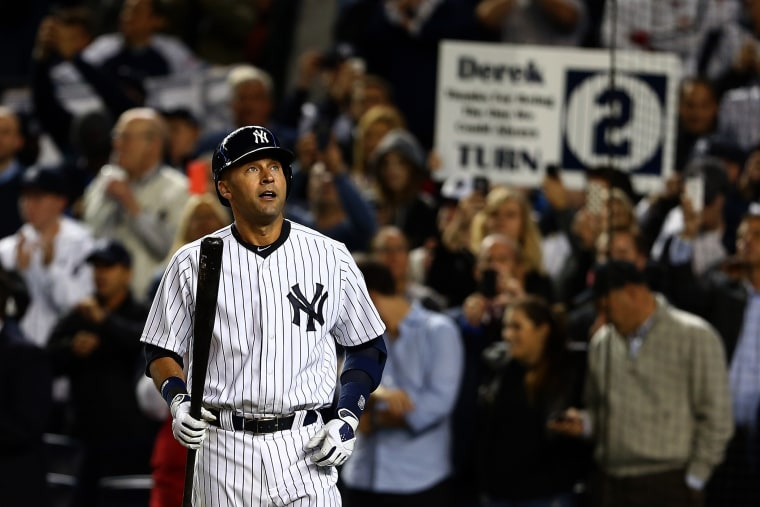 Derek Jeter of the New York Yankees walks to the plate against the Baltimore Orioles during his last game ever at Yankee Stadium on Sept. 25, 2014.