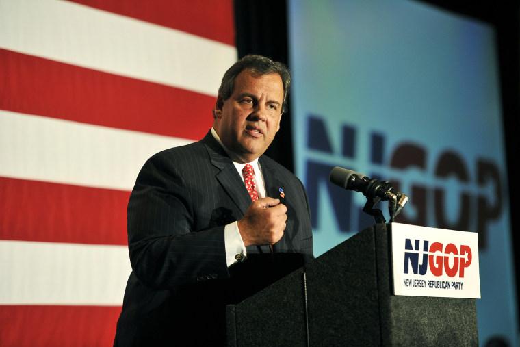 Gov. Chris Christie (R-NJ)  addresses the audience during a celebration on September 10, 2014.