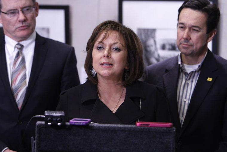 Governor Susana Martinez holds a press conference at her office to address the end of the 2013 Legislative Session on Saturday, March 16, 2013.
