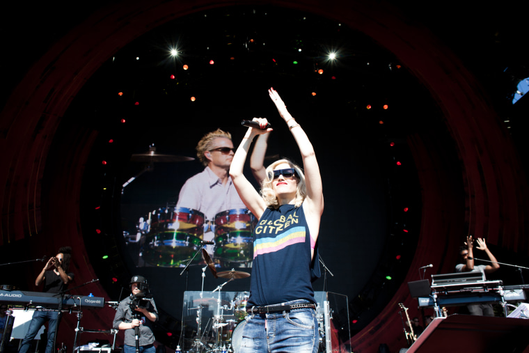 Gwen Stefani and No Doubt along with special guest, Sting rehearse for the Global Citizen Festival on The Great Lawn in Central Park, New York on Sept. 26, 2014.