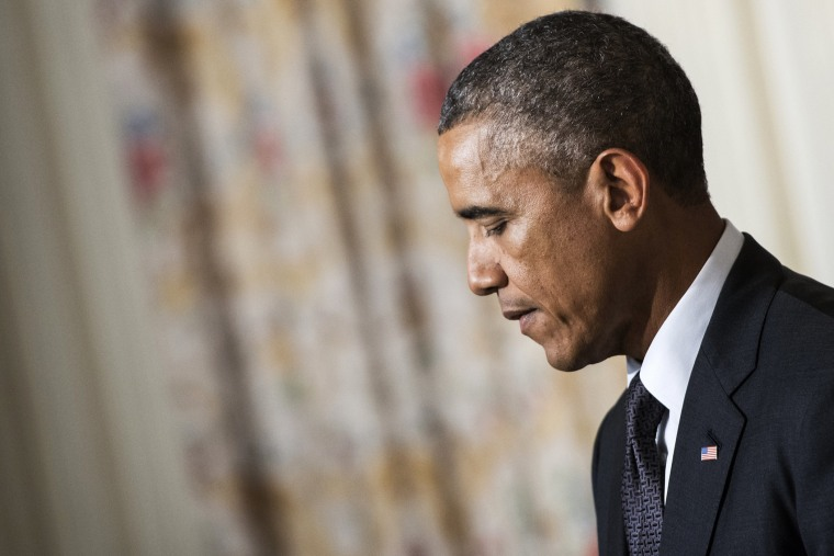 President Barack Obama pauses while speaking in the White House on Sept. 25, 2014 in Washington, D.C.