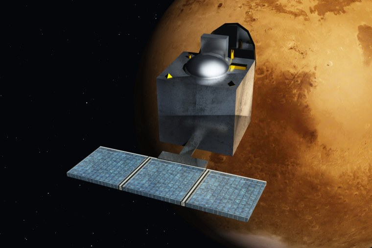An artist's concept of India's Mars Orbiter Mission, or MOM.