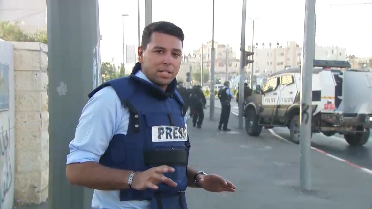 NBC News correspondent Ayman Moyeldin, reporting from the Israel-Gaza conflict in July, 2014.
