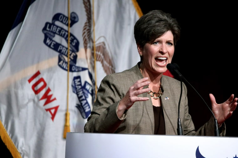 Republican senatorial candidate State Sen. Joni Ernst, speaks during the Iowa Faith and Freedom Coalition fall fundraiser on Sept. 27, 2014, in Des Moines, Iowa. (Justin Hayworth/AP)