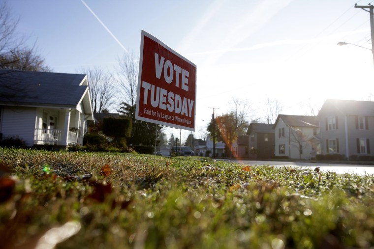 A sign reminding local residents to vote is seen November 6, 2012 in Portage, Ohio.