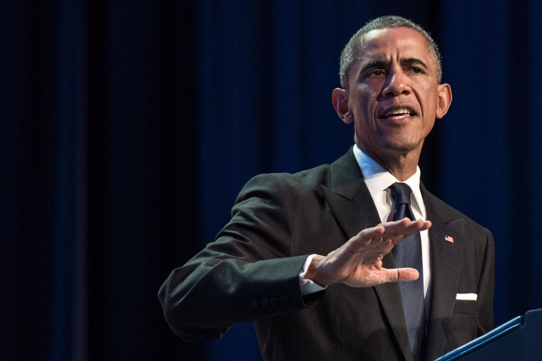 US President Barack Obama speaks at the Congressional Black Caucus Foundations 44th Annual Legislative Conference Phoenix Awards Dinner in Washington on Sept. 27, 2014. (Nicholas Kamm/AFP/Getty)