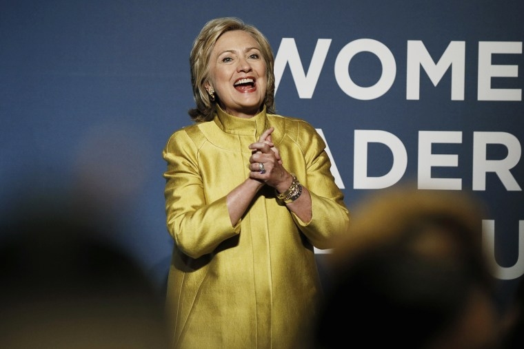 Former U.S. Secretary of State Hillary Clinton arrives to address the Democratic National Committee's Women's Leadership Forum in Washington, Sept. 19, 2014.
