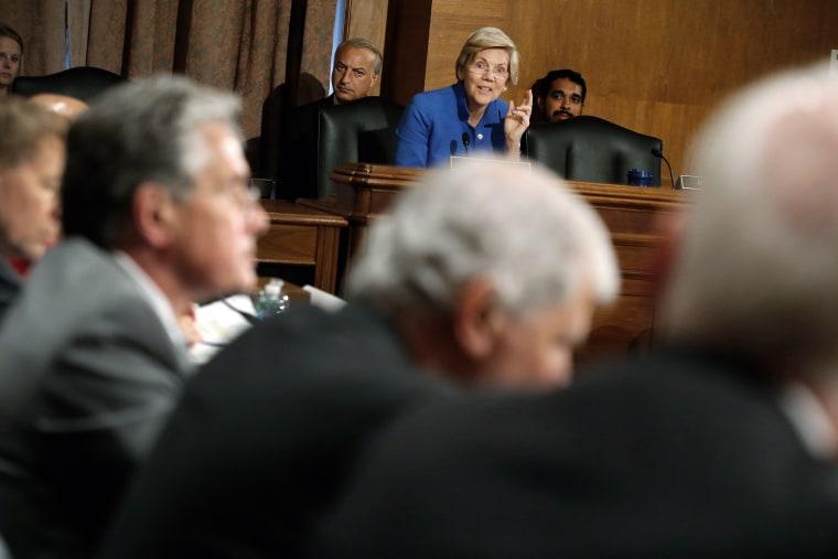 U.S. Senator Warren questions federal financial regulators about Wall Street reform before a Senate Banking Committee hearing on Capitol Hill in Washington
