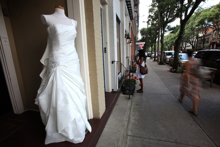 A wedding gown is displayed in Rhinebeck, New York.
