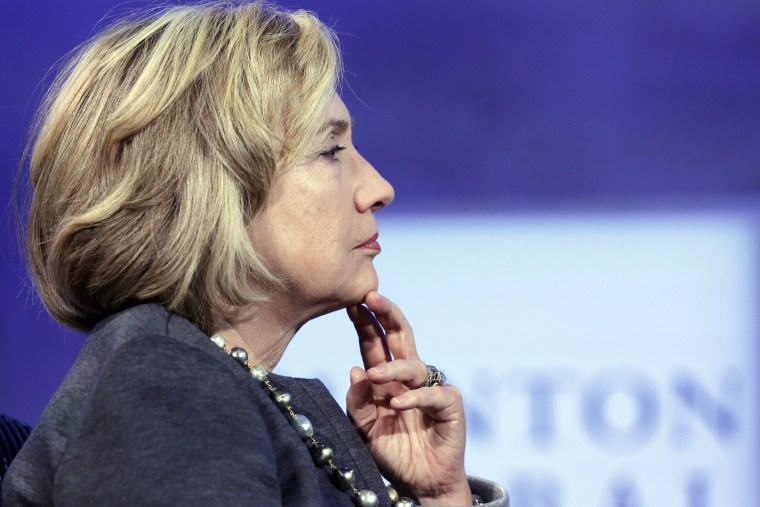 Hillary Clinton listens during a panel discussion at the Clinton Global Initiative, Sept. 22, 2014, in New York.