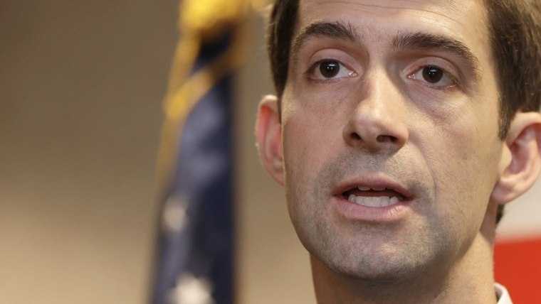 This Aug. 21, 2014, file photo shows Rep. Tom Cotton, R-Ark., as he speaks during a news conference in North Little Rock, Ark.