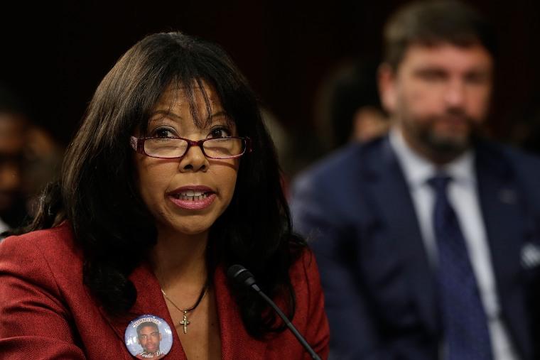 "Lucia McBath of Atlanta, Ga., mother of Jordan Davis, testifies during a Senate Judiciary Committee hearing on ""Stand Your Ground"" laws October 29, 2013 in Washington, DC."