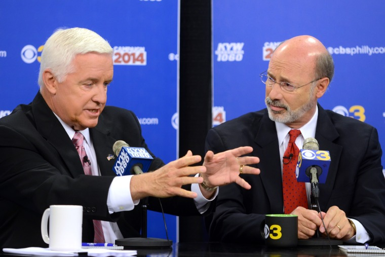 """Republican Gov. Tom Corbett, left, and Democratic challenger Tom Wolf take part in a debate at \""""Breakfast with the Candidates\"""" event at KYW-TV and KYW-AM  on..."""