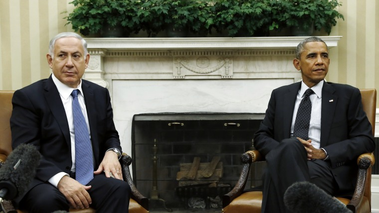 U.S. President Barack Obama (R) meets with Israel's Prime Minister Benjamin Netanyahu at the White House in Washington on Oct. 1, 2014.