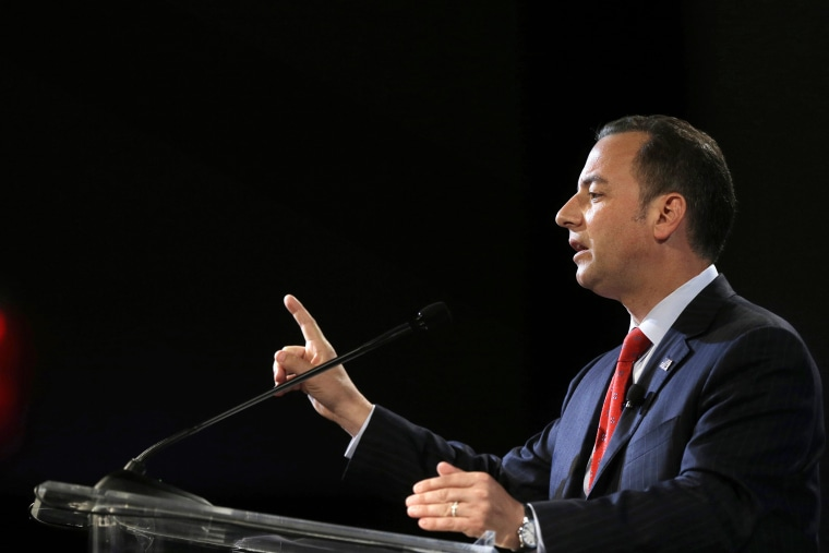 Chairman of the Republican National Committee Reince Priebus addresses an audience on July 31, 2014, in Boston.
