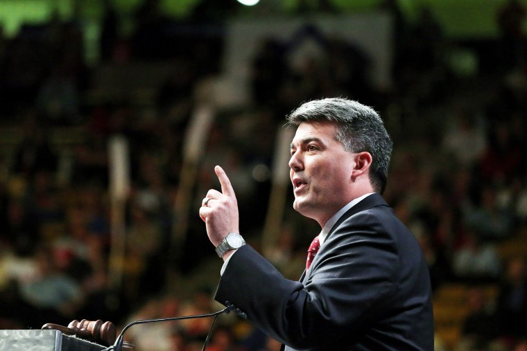 In this April 12, 2014 file photo, Rep. Cory Gardner delivers a speech to Republican delegates at the state GOP Congress, in Boulder, Colo. (Photo by Brennan Linsley/AP)
