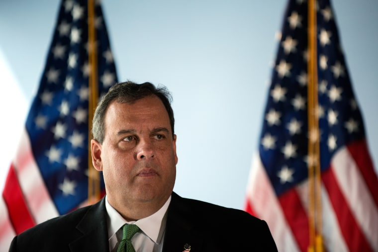 Chris Christie stands during a press conference on Sept. 24, 2014 at 7 World Trade Center in New York.
