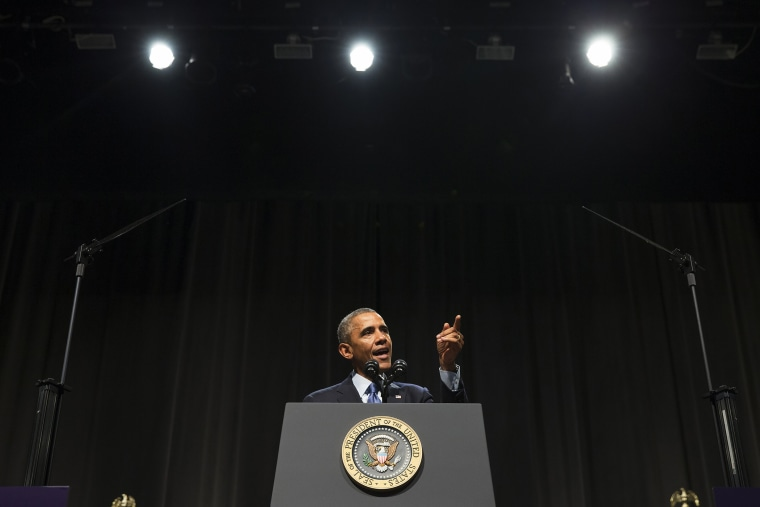 President Barack Obama speaks about the economy, Oct. 2, 2014, at Northwestern University in Evanston, Ill. (Photo by Evan Vucci/AP)