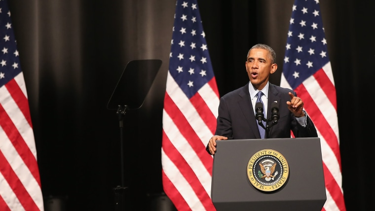 President Barack Obama speaks to students and faculty from the Kellogg School of Management at Northwestern University on October 2, 2014 in Evanston, Illinois.