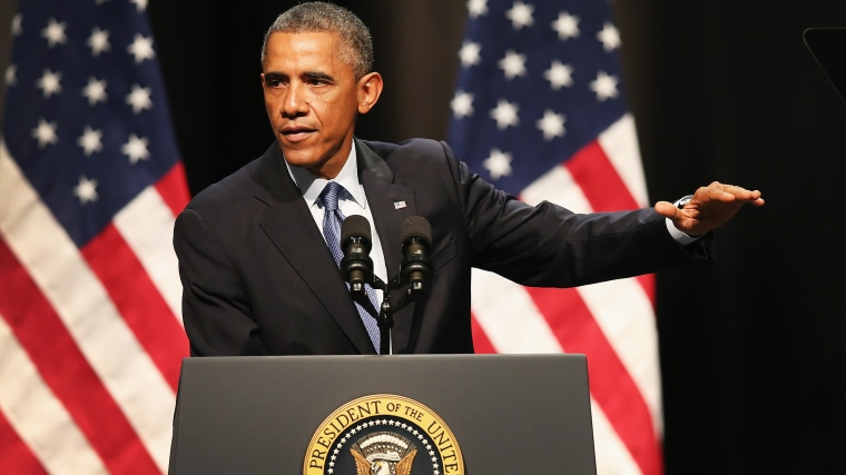 President Barack Obama speaks during an event on October 2, 2014 in Evanston, Illinois. (Photo by Scott Olson/Getty)