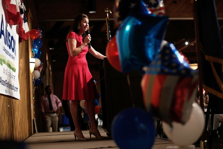 Kentucky's Democratic U.S. Senate nominee, and Kentucky Secretary of State, Alison Lundergan Grimes speaks at the Marshall County Democratic Bean Supper on Aug. 1, 2014 in Gilbertsville, Ky. (Photo by Win McNamee/Getty)