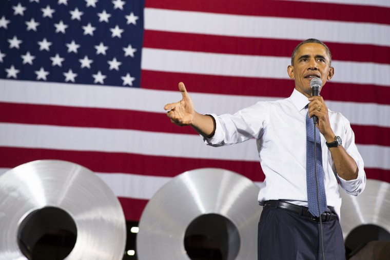 President Barack Obama speaks at Millennium Steel Service in Princeton, Ind., Oct. 3, 2014, to discuss the economy as part of Manufacturing Day.