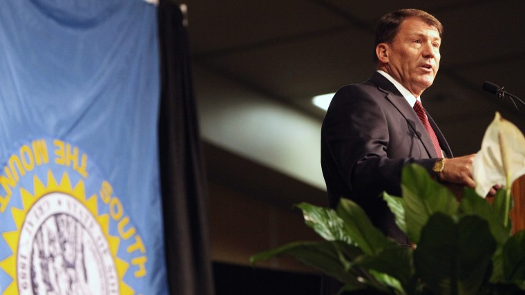 Mike Rounds, Republican candidate in 2014 for U.S. Senate in South Dakota speaks at the South Dakota Republican Convention at the Rushmore Plaza Civic Center in Rapid City, S.D., June 20, 2014. (Photo by Toby Brusseau/AP)