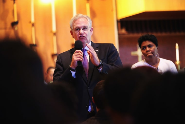 Missouri Governor Jay Nixon speaks to residents and faith and community leaders during a forum held at Christ the King UCC Church on August 14, 2014 in Florissant, Missouri.