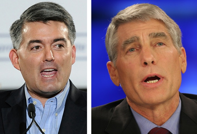 This combo of file photos shows Rep. Cory Gardner, R-Colo., speaks during an event in Denver in a March 1, 2014 file photo, left, and then Colorado...