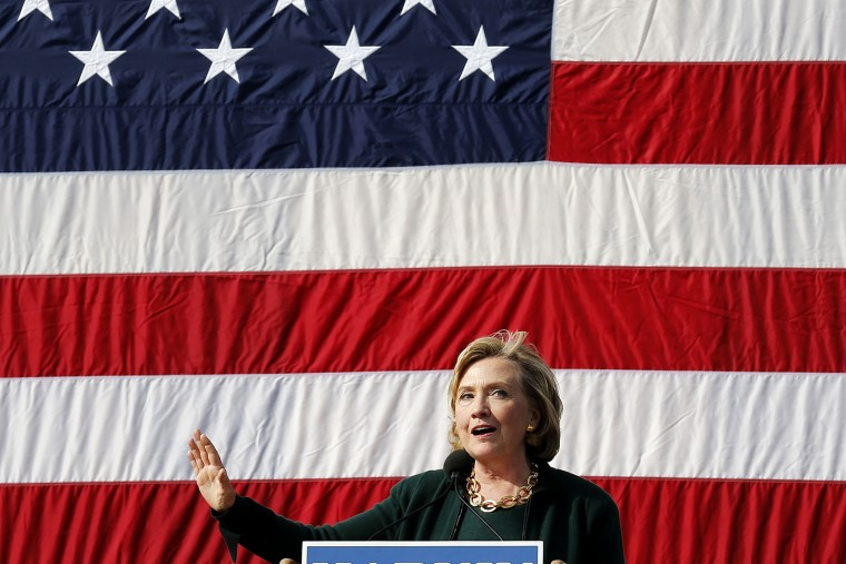 Former U.S. Secretary of State Hillary Clinton speaks at the 37th Harkin Steak Fry in Indianola, Iowa, on Sept. 14, 2014.